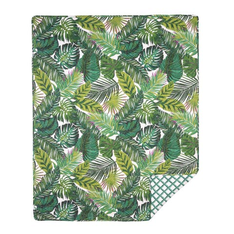 Laila Green Cotton Reversible Quilted Throw Blanket