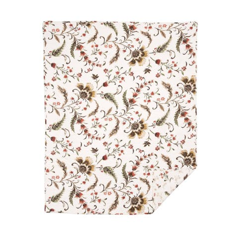 Autumn Bloom Quilted Cotton Throw Blanket