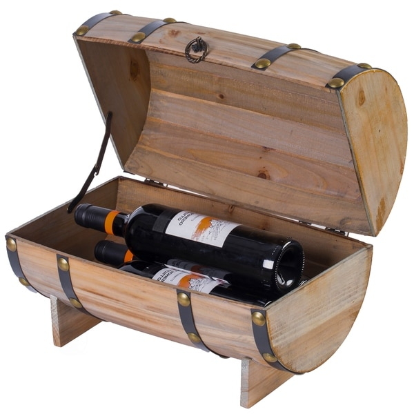 Wooden Wine Barrel Shaped Treasure Chest Vintage Wine Holder
