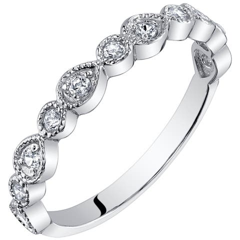 Half Eternity Band Cubic Zirconia Stackable Ring in Sterling Silver