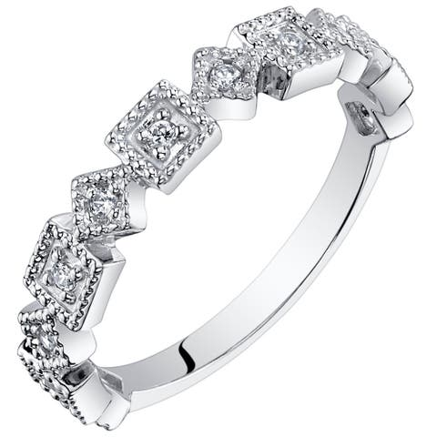 Byzantine Half Eternity Band Cubic Zirconia Stackable Ring in Sterling Silver