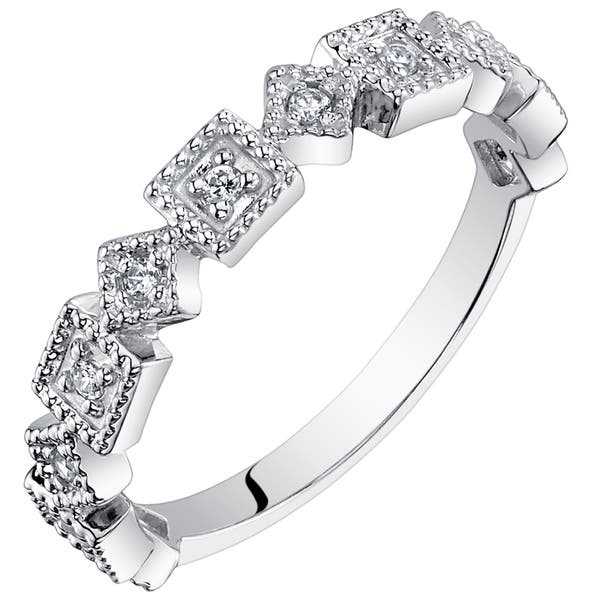 Rhodium Plated Sterling Silver Sideways Pear Half Eternity Band CZ Stacking Ring Womens Cubic Zirconia Stackable Rings