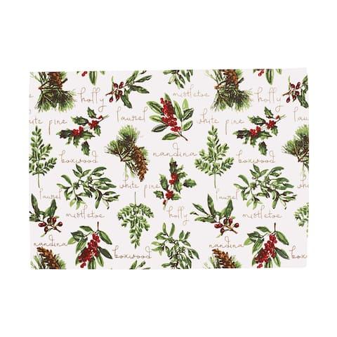 Winter Botanical Woven Placemat Set 6 - 13 x 19