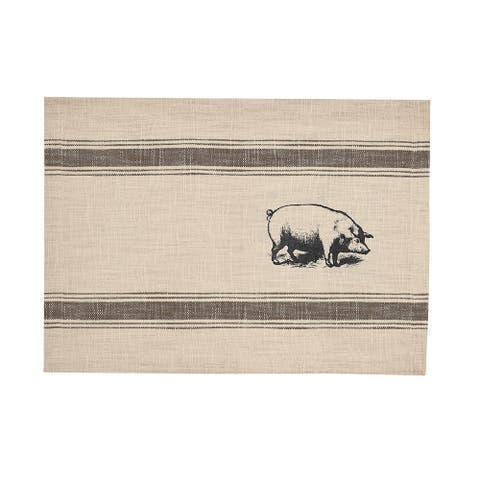 Pig Feed Sack Placemat Set of 6 - 13 x 19