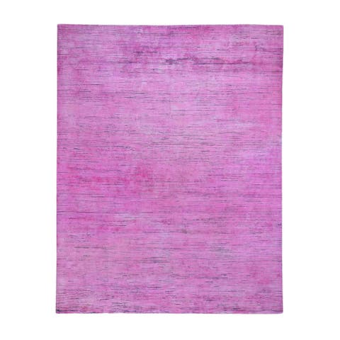 "Shahbanu Rugs Pink Overdyed Silk with Textured Wool Hand Knotted Oriental Rug (8'0"" x 10'0"") - 8'0"" x 10'0"""