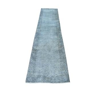 "Shahbanu Rugs Gray Vintage Persian Tabriz Worn Pile Runner Hand Knotted Oriental Rug (2'3"" x 10'5"") - 2'3"" x 10'5"""