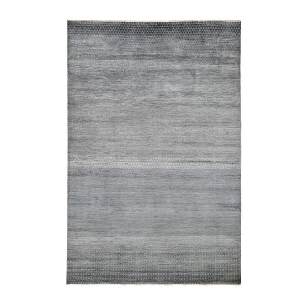 Shop Shahbanu Rugs Gray Wool And Silk Grass Design Hand Knotted