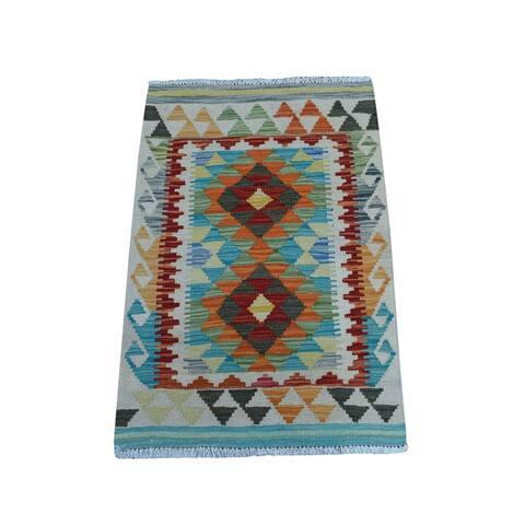 "Shahbanu Rugs Colorful Afghan Kilim Pure Wool Hand Woven Oriental Rug (2'0"" x 2'8"") - 2'0"" x 2'8"""