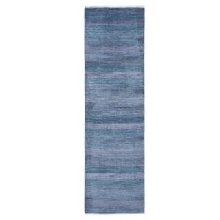 "Shahbanu Rugs Green Wool and Silk Grass Design Runner Hand Knotted Oriental Rug (2'6"" x 8'10"") - 2'6"" x 8'10"""
