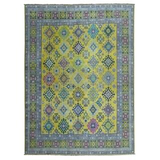 "Shahbanu Rugs Colorful Yellow Fusion Kazak Pure Wool Geometric Design Hand Knotted Oriental Rug (8'0"" x 10'0"") - 8'0"" x 10'0"""