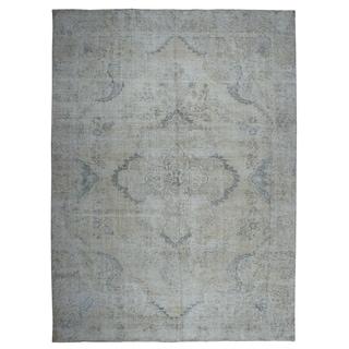 "Shahbanu Rugs Gray Vintage Persian Tabriz Pure Wool Hand Knotted Oriental Rug  (9'6"" x 12'4"") - 9'6"" x 12'4"""