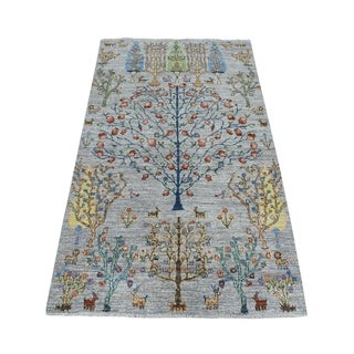 """Shahbanu Rugs Gray Willow And Cypress Tree Design Pure Wool Hand Knotted Oriental Rug (4'0"""" x 6'0"""") - 4'0"""" x 6'0"""""""