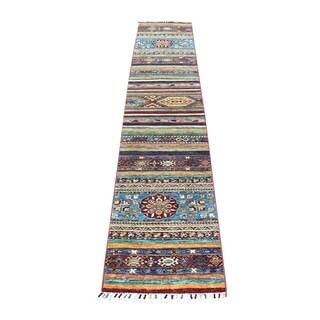"Shahbanu Rugs Khorjin Design Colorful Runner Super Kazak Pure Wool Hand Knotted Oriental Rug (1'10"" x 9'8"") - 1'10"" x 9'8"""