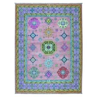"Shahbanu Rugs Colorful Pink Fusion Kazak Pure Wool Geometric Design Hand Knotted Oriental Rug (8'0"" x 10'0"") - 8'0"" x 10'0"""