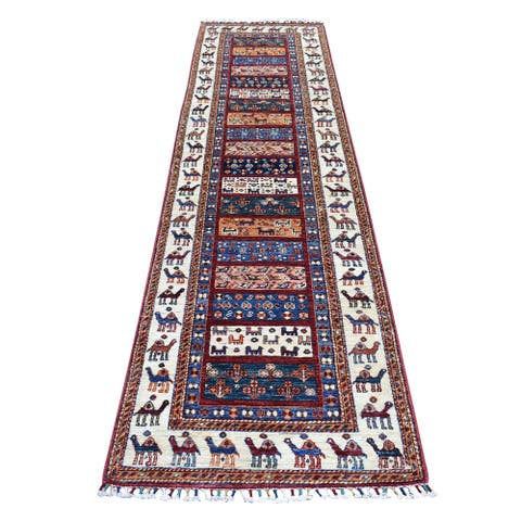 "Shahbanu Rugs Khorjin Design Colorful Runner Super Kazak Pure Wool Hand Knotted Oriental Rug (2'7"" x 10'0"") - 2'7"" x 10'0"""
