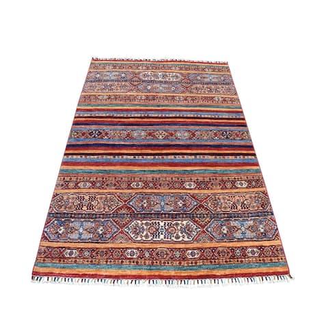 "Shahbanu Rugs Khorjin Design Colorful Super Kazak Pure Wool Hand Knotted Oriental Rug (4'10"" x 6'3"") - 4'10"" x 6'3"""