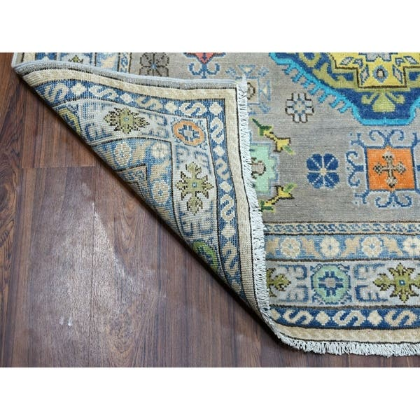 Shahbanu Rugs Colorful Gray Fusion Kazak Pure Wool Geometric Design Hand Knotted Oriental Rug 5 0 X 6 6 5 0 X 6 6 Overstock 30137919