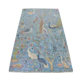 "Shahbanu Rugs Blue Birds of Paradise Peshawar Pure Wool Hand Knotted Oriental Rug (4'1"" x 6'0"") - 4'1"" x 6'0"""
