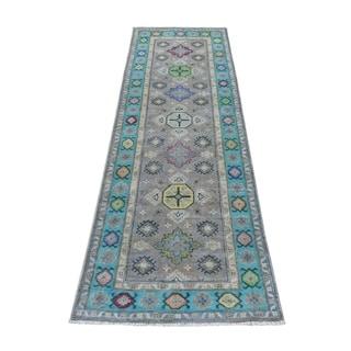 "Shahbanu Rugs Colorful Gray Fusion Kazak Runner Pure Wool Geometric Design Hand Knotted Oriental Rug (2'6"" x 7'9"") - 2'6"" x 7'9"""