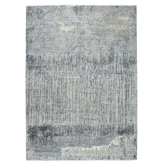 "Shahbanu Rugs Gray Pure Wool Abstract Design Hand Knotted Oriental Rug (9'3"" x 11'9"") - 9'3"" x 11'9"""