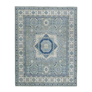 "Shahbanu Rugs Gray Vintage Look Kazak With Mamluk Design Pure Wool Hand Knotted Oriental Rug (8'2"" x 9'6"") - 8'2"" x 9'6"""