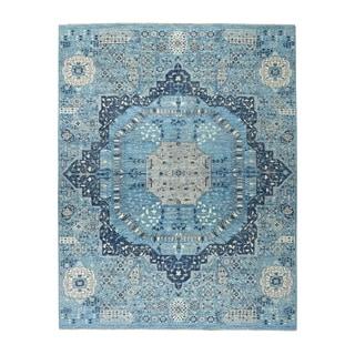 "Shahbanu Rugs Blue Peshawar With Mamluk Design Pure Wool Hand Knotted Oriental Rug (8'0"" x 10'2"") - 8'0"" x 10'2"""