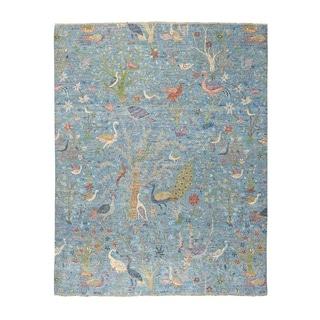 "Shahbanu Rugs Blue Birds of Paradise Peshawar Pure Wool Hand Knotted Oriental Rug (8'0"" x 10'0"") - 8'0"" x 10'0"""