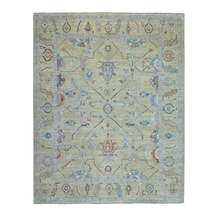 """Shahbanu Rugs Yellow Oushak Soft Silky Wool Hand Knotted Oriental Rug (8'1"""" x 10'2"""") - 8'1"""" x 10'2"""""""