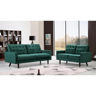 Us Pride Furniturecousins Velvet 2 Piece Living Room Set Sofa And Loveseat Green Dailymail