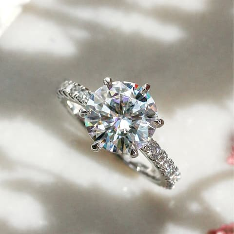 Annello by Kobelli 3.10 Carat Round Moissanite and 1/2ct Lab Grown Diamond 6-Prong Engagement Ring in 14k Gold (HI/VS, DEF/VS)