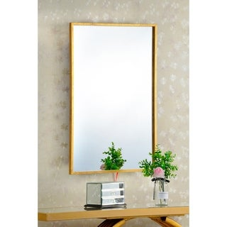 "Elegant rectangular mirror with gold antique finish, 24"" x 36""."