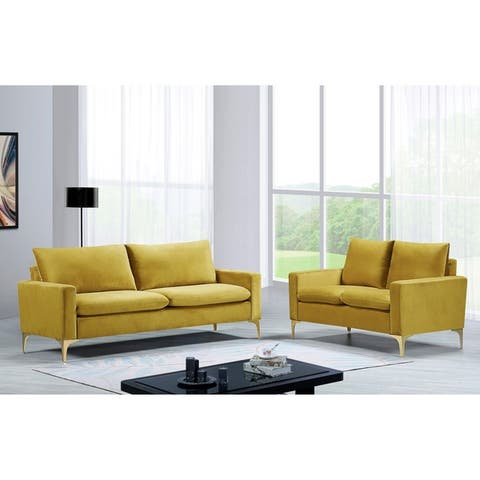 Macus Velvet 2 Piece Living Room set Sofa and Loveseat