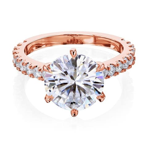 Annello by Kobelli 3.10 Carat Round Moissanite and 1/2ct Lab Grown Diamond 6-Prong Engagement Ring in 14k Gold (DEF/VS)