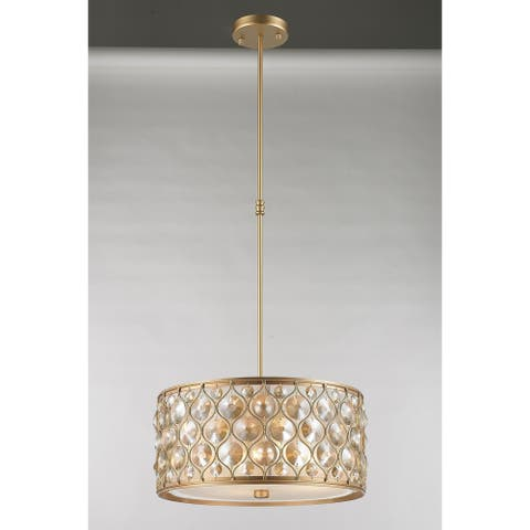 Paris 4-Light 16 in. Matte Gold Finish with Golden Teak Crystal Pendant Light Small - Small Pendant