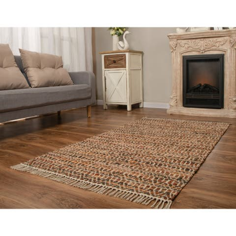 The Curated Nomad Lorton Handwoven Multicolor Leather and Cotton Rug