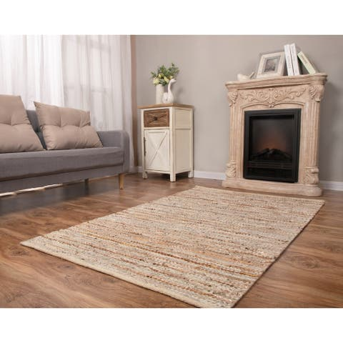 Handwoven Beige Leather/Cotton Rug with Metallic Leather