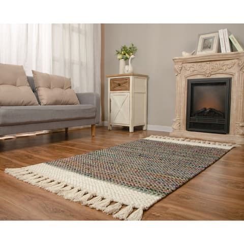The Curated Nomad Cersai Handloom Recycled Cotton Rug with Tassels
