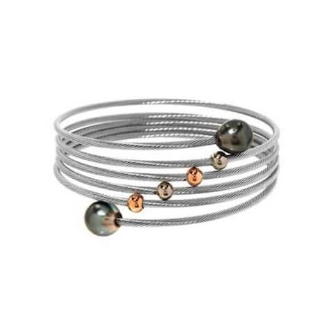 PEARL LUSTRE Bangle Bracelet with Genuine Tahitian Pearls in Stainless steel.