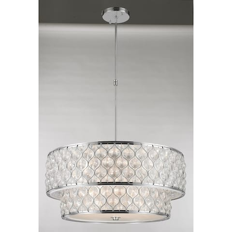 Paris 12-Light Chrome Finish with Clear Crystal drum Two 2 Tier Pendant Light 28 in. Dia x 12 in. H Large - Large Pendant