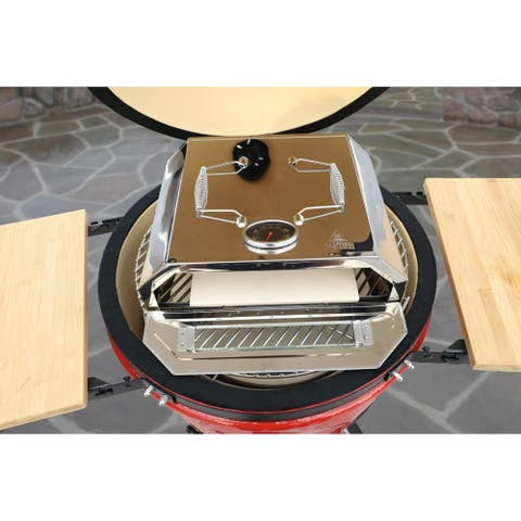 """Stainless Steel 11"""" Pizza Oven with Ceramic Cooking and Pizza Utensil"""