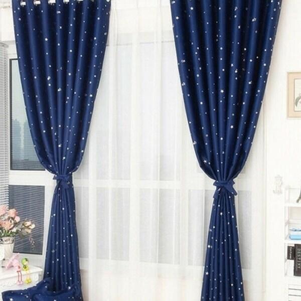 Thick Stars Window Curtain Dark Blue
