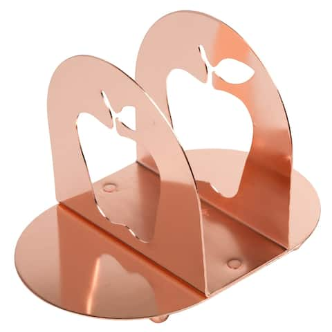 Creative Home Copper Finish Metal Napkin Condiment Holder with Apple Motif