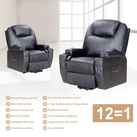 Recliner Chair with Electric Power, Elderly Gift with Heat Massage