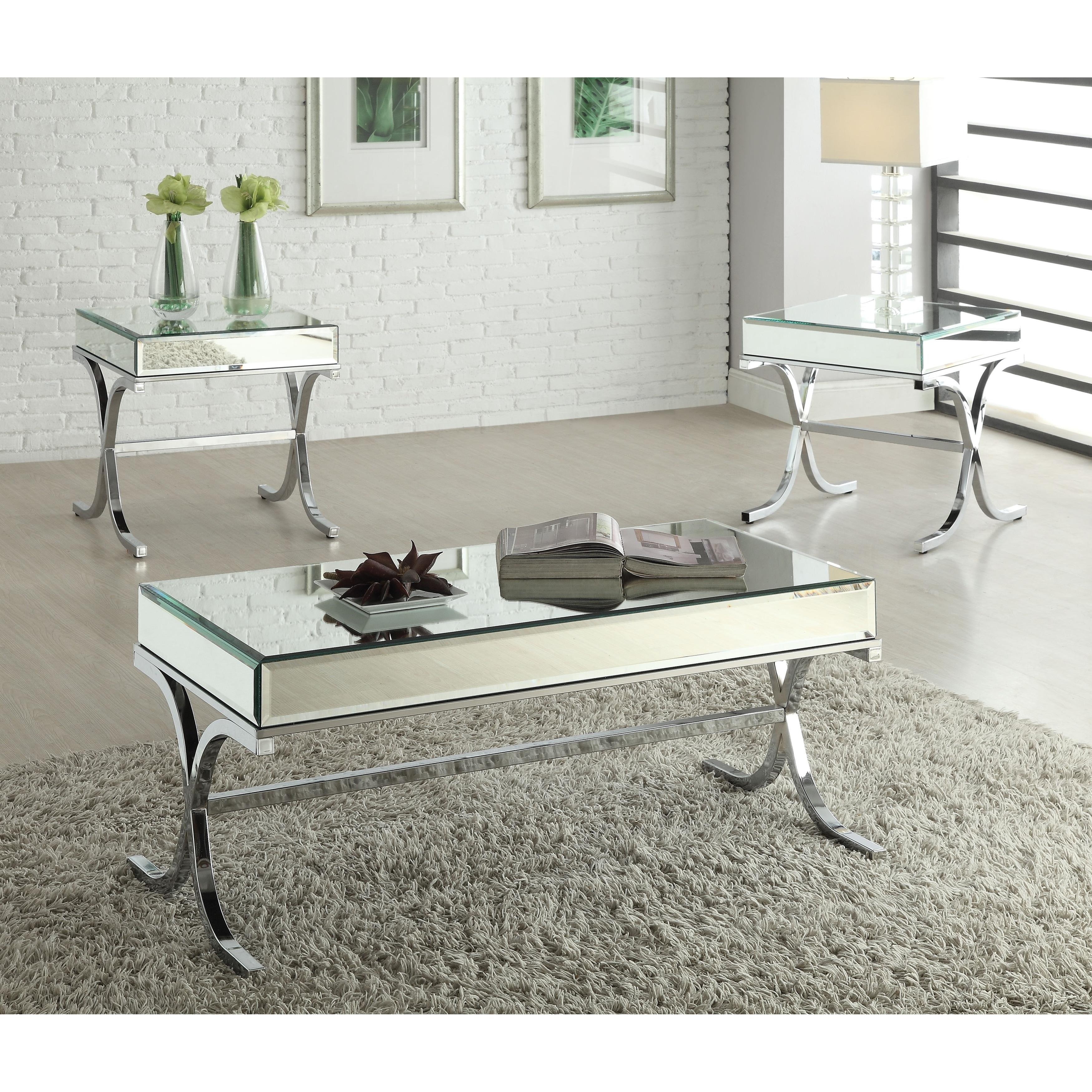 ACME Furniture 81195 Yuri Coffee Table Mirrored Top//Chrome