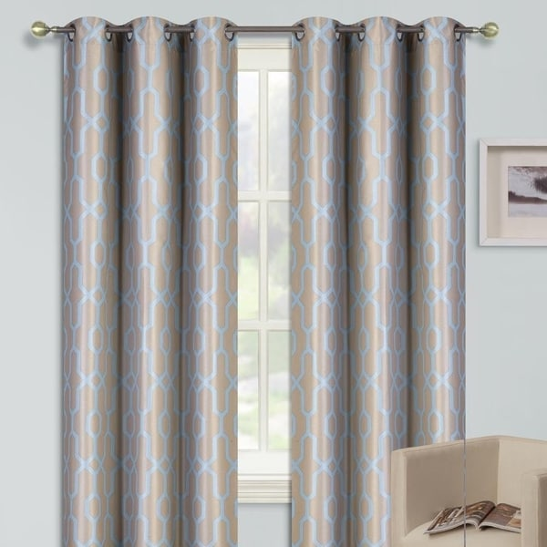 "Shop 2 Cross Printed Grommet Window Curtains Blue 35"" X 63"