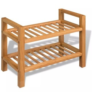 "Shoe Rack with 2 Shelves Solid Oak Wood 19.5""x10.6""x15.7"""