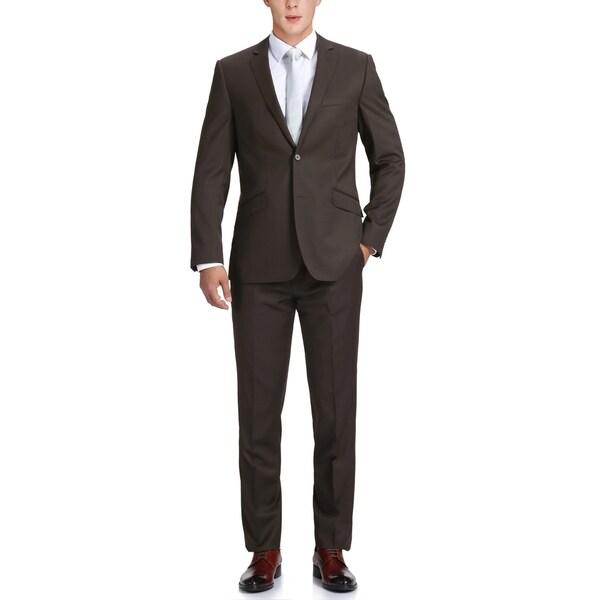 Mens Two Piece Slim-Fit Notch Lapel Dress Suit