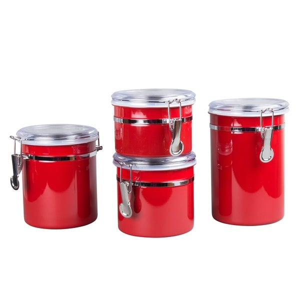 Creative Home 4-Pieces Stainless Steel Canister Container Set with Air Tight Lid and Locking Clamp, Red. - N/A