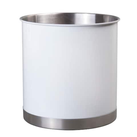 Creative Home Stainless Steel Tool Utensil Crock, White