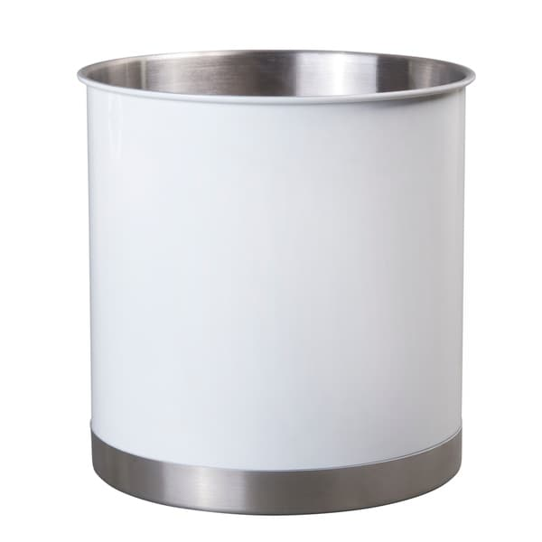 Creative Home 50300 Heavy Gauge Stainless Steel Tool Crock Utensil Flatware Holder, Large, White - N/A